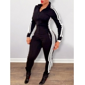 lovely Sportswear Zipper Design Patchwork Black On