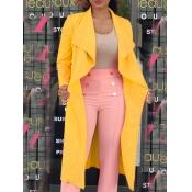 lovely Trendy Turndown Collar Loose Yellow Coat
