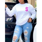 Lovely Casual O Neck?Print White Hoodie