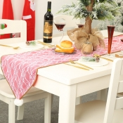 lovely Christmas Day Print Pink Table Linens