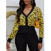 lovely Street Print Patchwork Yellow Cardigan