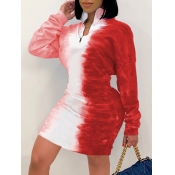 Lovely Stylish Turndown Collar Tie-dye Zipper Design Red Knee Length Dress