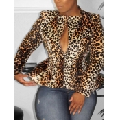 lovely Stylish Leopard Print Brown Blazer