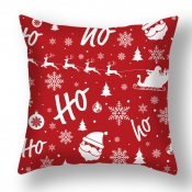 lovely Christmas Day Print Red Decorative Pillow C