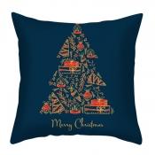 lovely Christmas Day Print Navy Blue Decorative Pi