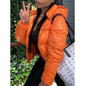 Lovely Stylish Hooded Collar Buttons Design Orange Parka