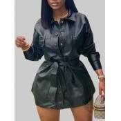 Lovely Stylish Turndown Collar Fold Design Black Mini Plus Size Dress