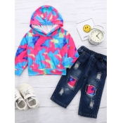 lovely Street Hooded Collar Camo Print Girl Two-pi