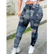Lovely Trendy Print Skinny Deep Bue Pants