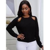 lovely Trendy O Neck Hollow-out Black Sweater