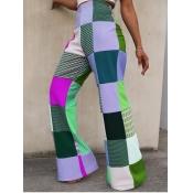 lovely Street Grid Print Grass Green Pants