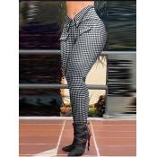 lovely Trendy Grid Print Black Pants