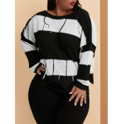 lovely Casual O Neck Striped Black And White Plus