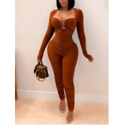 Lovely Stylish Square Collar Fold Design Brown One-piece Jumpsuit