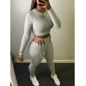 lovely Casual O Neck Crop Top Grey Two Piece Pants