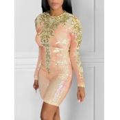 lovely Party O Neck Long Sleeve Pachwork Pink One-