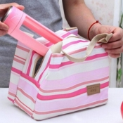 lovely Trendy Striped Pink Lunch Box Bag