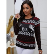 lovely Casual O Neck Print Black Sweater