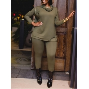 lovely Casual Turtleneck Long Sleeve Green Plus Si