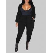 lovely Sportswear Long Sleeve Black Plus Size Two-