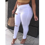 lovely Trendy Hollow-out White Plus Size Jeans
