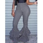 lovely Trendy Dot Print Black Pants