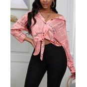 lovely Trendy Shirt Collar Letter Print Light Pink