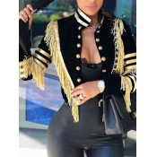 lovely Trendy Mandarin Collar Tassel Design Black