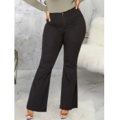lovely Casual Flared Black Plus Size Jeans