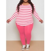 lovely Casual Boat Neck Long Sleeve Striped Pink P
