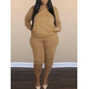 lovely Casual O Neck Long Sleeve Coffee Plus Size