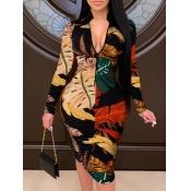Lovely Casual Mandarin Collar Print Black Mid Calf Dress
