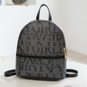 Lovely Casual Letter Print Black Backpack