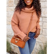 Lovely Stylish Turtleneck Dropped Shoulder Long Sl