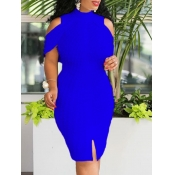 lovely Sexy Off The Shoulder Blue Knee Length Dres