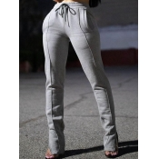 Lovely Trendy Lace-up Patchwork Grey Pants