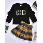 Lovely Sweet O Neck Letter Print Black Girl Two-piece Skirt Set