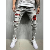 lovely Street Broken Holes Grey Men Jeans