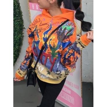 Lovely Casual Hooded Collar Graffiti Print Orange