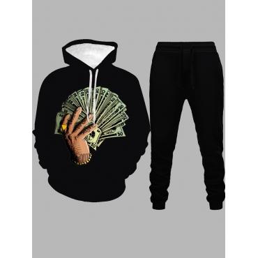 Lovely Trendy Hooded Collar Print Black Men Two-pi