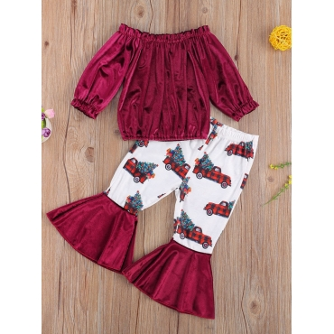 Lovely Trendy Print Patchwork Wine Red Girl Two-pi