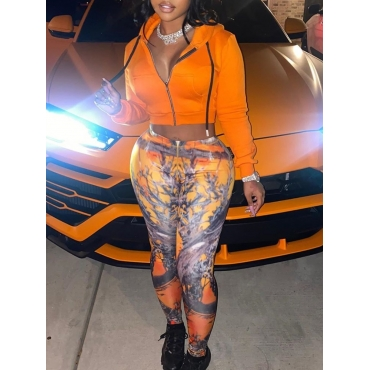 Lovely Casual Hooded Collar Print Orange Two Piece