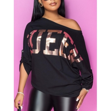 Lovely Stylish Letter Print Loose Black T-shirt
