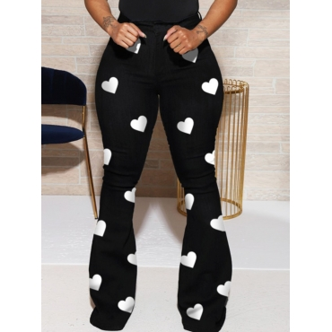 Lovely Casual Heart Print Black Plus Size Pants