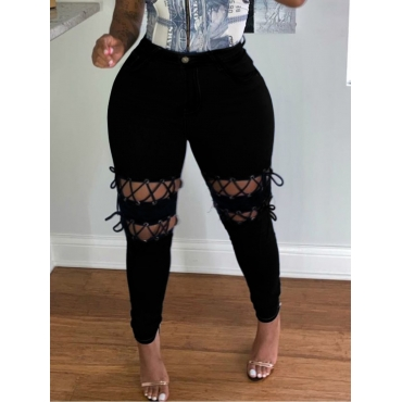 Lovely Trendy Bandage Design Black Plus Size Jeans