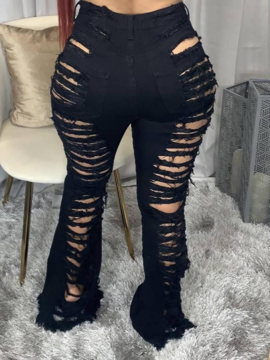LW Lovely Street Broken Holes Black Jeans