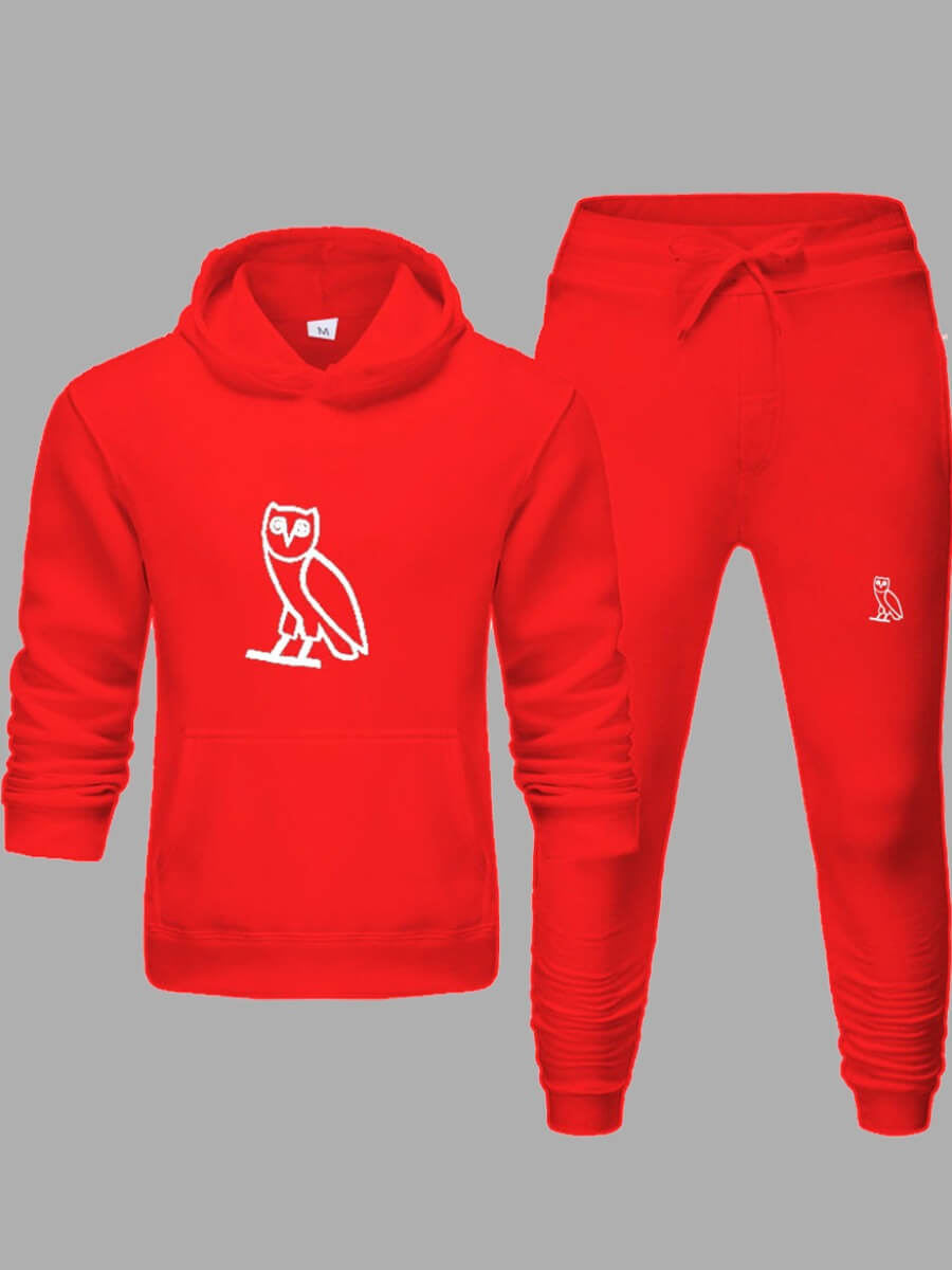 Lovely Leisure Hooded Collar Print Red Men Two-pie