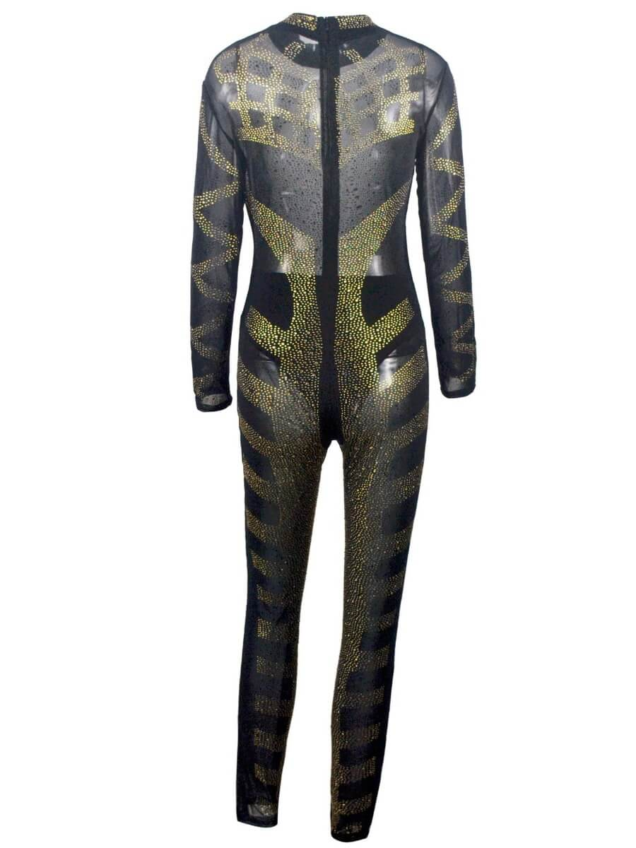 Lovely Sexy Turtleneck Long Sleeve Sequined Black One-piece Jumpsuit