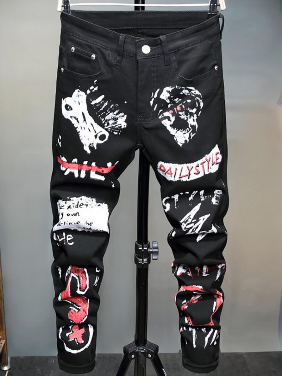 LW Lovely Street Print Black Men Jeans