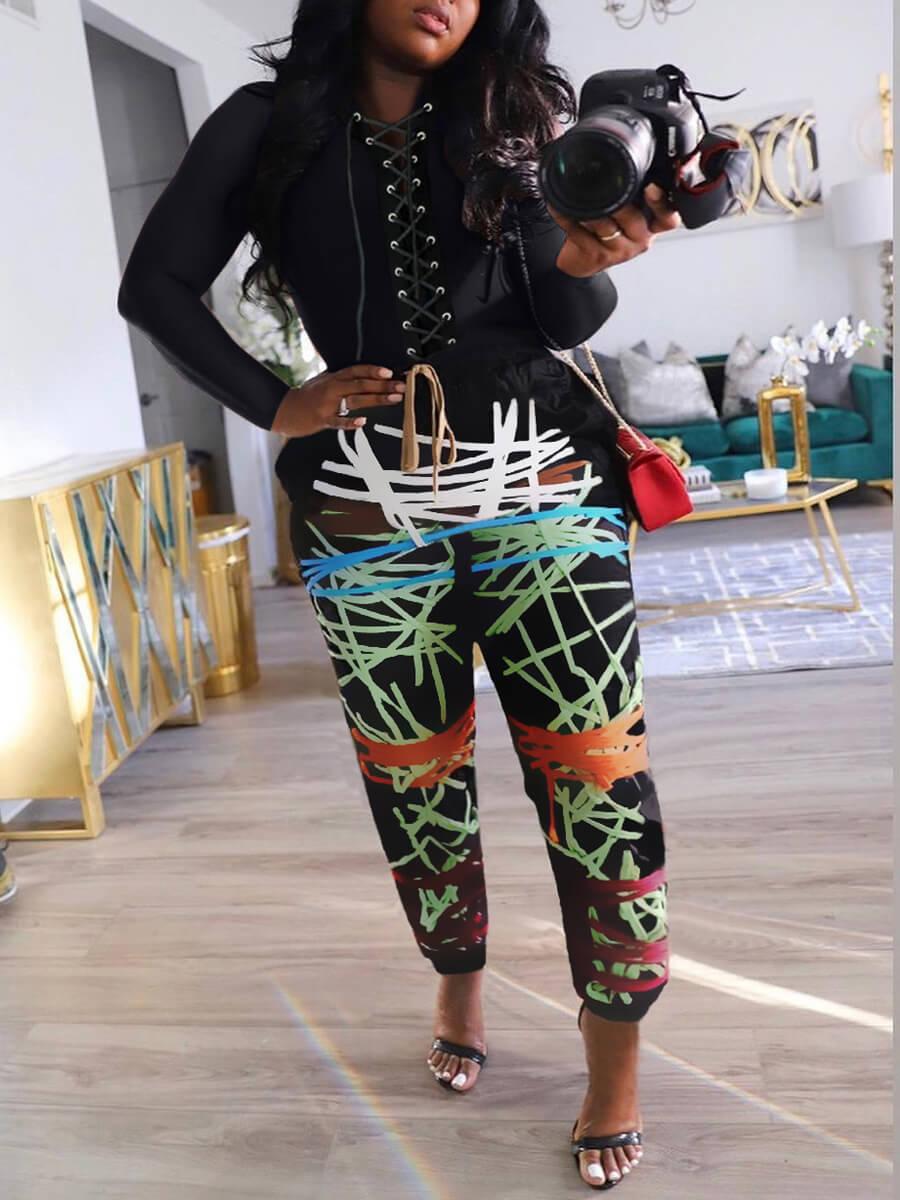 LW Print Bandage Design Pants Set (Without Bandage Design)